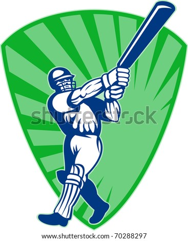 illustration of a cricket batsman silhouette batting front view  with shield in background - stock photo