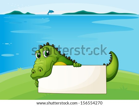 Illustration of a crocodile holding an empty signboard
