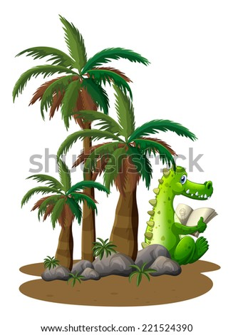 Illustration of a crocodile reading near the coconut trees on a white background - stock photo