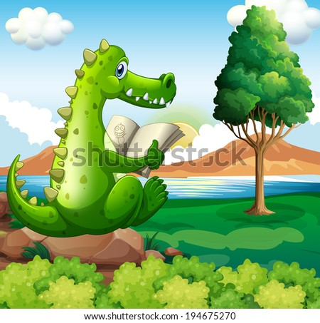 Illustration of a crocodile sitting above the rock while reading near the river