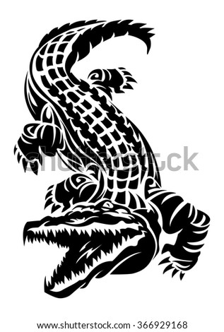 illustration of a crocodile tattoo on isolated white background