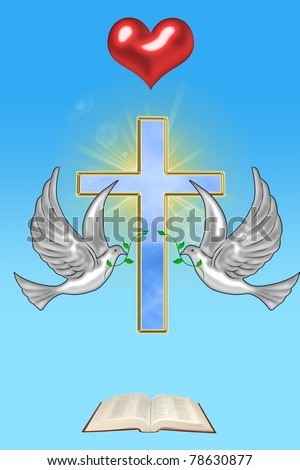 illustration of a cross with a dove and the Bible - stock photo