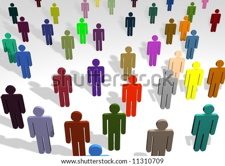 Illustration of a crowd of people of different colors