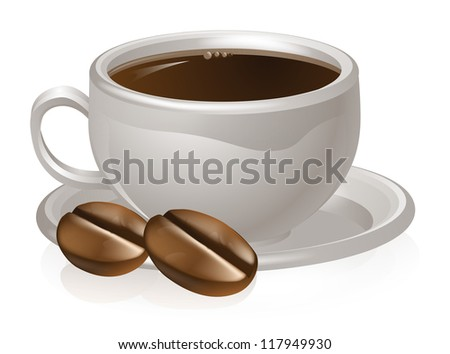 Illustration of a cup of coffee and coffee beans with white coffee cup and saucer - stock photo