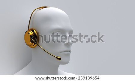 Illustration of a customer service worker wearing a golden head-set - stock photo