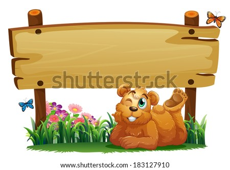 Illustration of a cute bear under the empty wooden signboard on a white background - stock photo