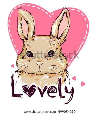 illustration of a cute bunny, rabbit. Hand Drawn Illustration of Bunny.