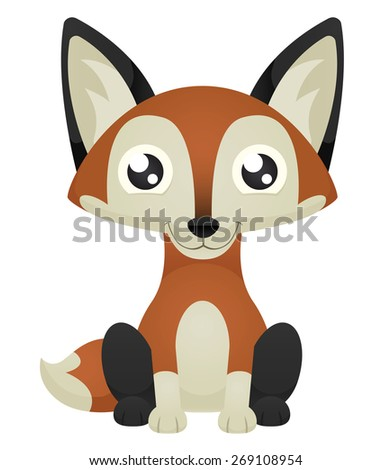 Illustration of a cute cartoon fox sitting with a happy expression. Raster. - stock photo
