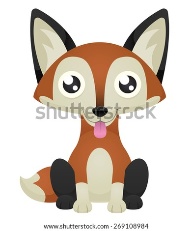 Illustration of a cute cartoon fox sitting with its tongue out. Raster. - stock photo