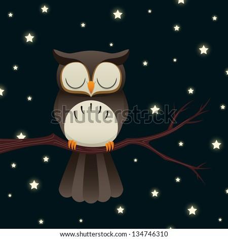 Illustration of a cute cartoon owl sleeping under a starry night sky. Raster. - stock photo