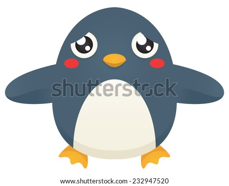 Illustration of a cute cartoon penguin looking for a hug. Raster. - stock photo