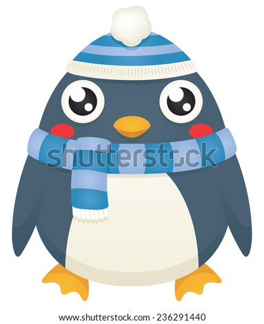 Illustration of a cute cartoon penguin wearing a blue winter scarf and hat. Raster. - stock photo