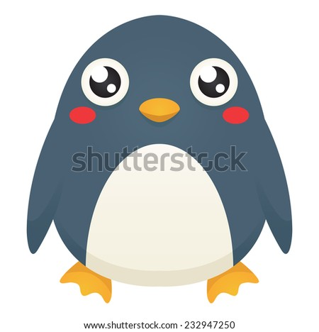 Illustration of a cute cartoon penguin with a neutral expression. Raster. - stock photo