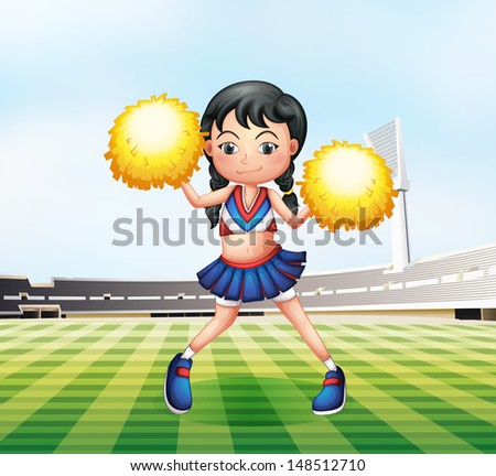 Illustration of a cute cheerdancer at the soccer field - stock photo