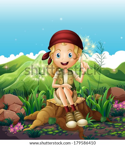 Illustration of a cute female explorer sitting above the stump