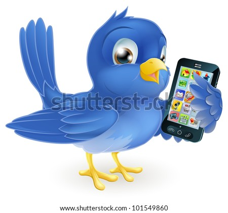 Illustration of a cute happy bluebird holding a mobile cell phone - stock photo