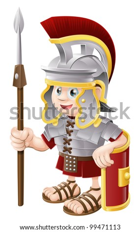 Illustration of a cute happy Roman soldier holding a spear and a shield