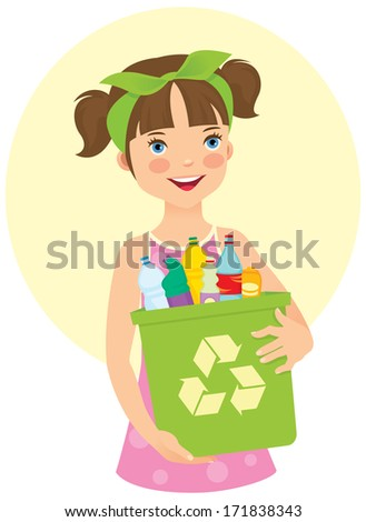 Illustration of a cute little girl cares about the environment/Little girl holding recycling bin/Girl holding a dumpster filled with household waste