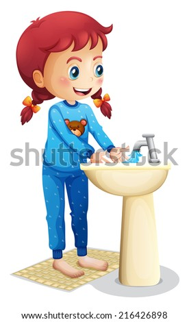 Illustration of a cute little girl washing her face on a white background