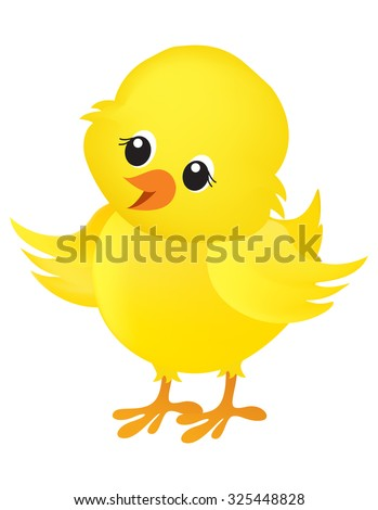 Illustration of a cute little yellow easter chick isolated on white background