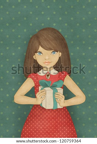 Illustration of a cute party girl. Card template. - stock photo