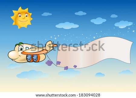 illustration of a cute plane flying pulling blank banner - stock photo
