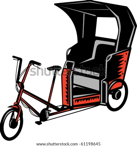 illustration of a Cycle Rickshaw isolated on white background - stock photo