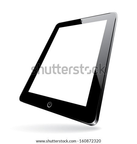 illustration of a 3d black computer tablet with white blank screen. (rasterized version) - stock photo
