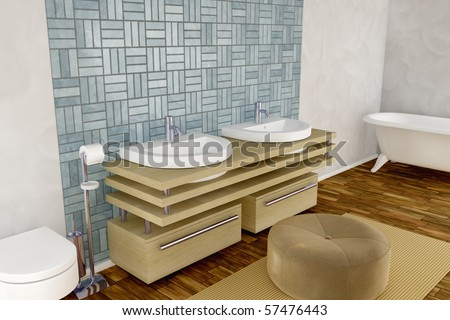 Illustration of a 3d rendered bahtroom - stock photo