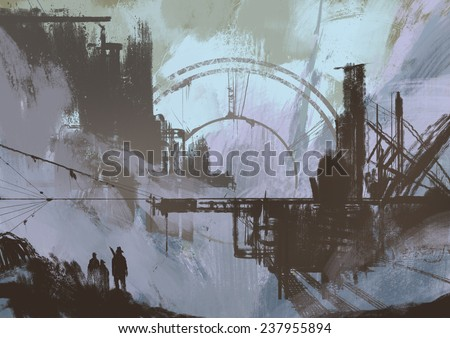 Illustration of a dark city,digital painting - stock photo