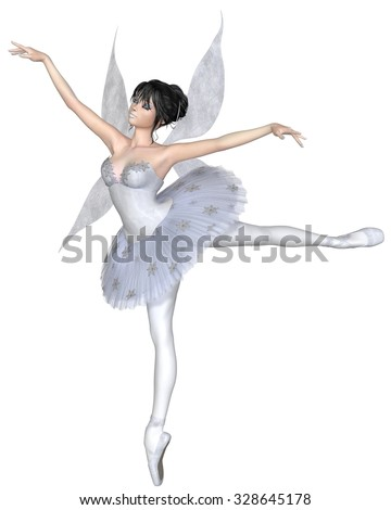 Illustration of a dark haired snowflake fairy ballerina wearing a classical ballet tutu and standing in arabesque pose, 3d digitally rendered illustration