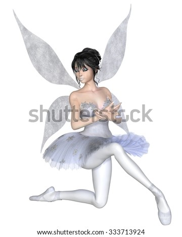 Illustration of a dark haired snowflake fairy ballerina wearing a classical ballet tutu and kneeling with crossed arms, 3d digitally rendered illustration