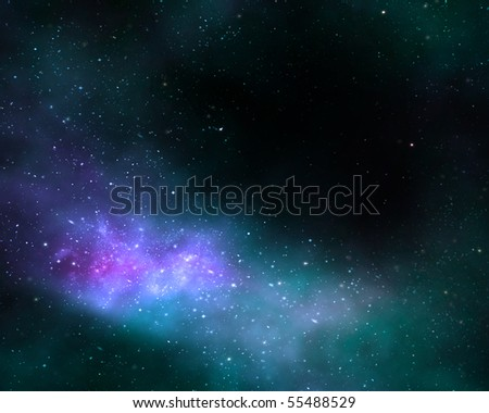 illustration of a deep outer space nebula or galaxy - stock photo