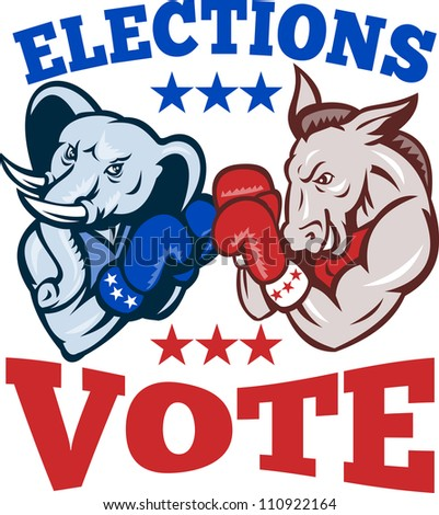 Illustration of a democrat donkey mascot of the democratic and republican elephant boxer boxing with gloves set inside circle done in retro style with words elections vote
