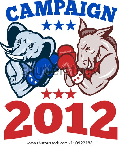 Illustration of a democrat donkey mascot of the democratic and republican elephant boxer boxing with gloves set inside circle done in retro style with words campaign 2012