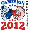 Illustration of a democrat donkey mascot of the democratic grand old party gop and republican elephant boxer boxing with gloves set inside circle done in retro style with words campaign 2012 - stock photo