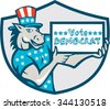 Illustration of a democrat donkey mascot of the democratic grand old party gop wearing American stars and stripes flag shirt hat holding Vote Democrat sign done in cartoon style inside shield crest - stock photo