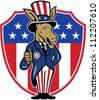 Illustration of a democrat donkey mascot of the democratic grand old party gop wearing hat and suit thumbs up set inside American stars and stripes flag shield done in cartoon style. - stock vector