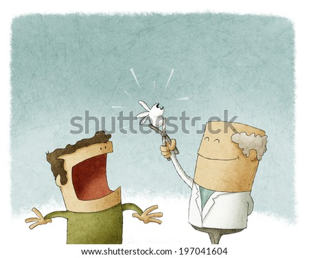 Illustration of a dentist extracting a tooth - stock photo