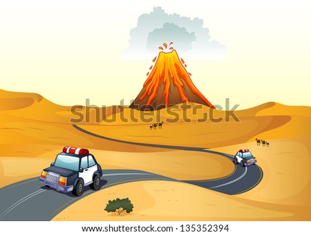 Illustration of a desert with two patrol cars - stock photo