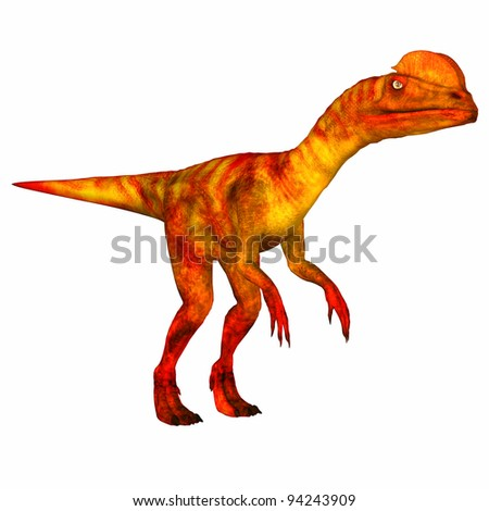 Illustration of a Dilophosaurus isolated on a white background - stock photo