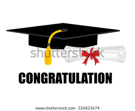Illustration of a diploma and mortarboard cap symbolizing graduation. and congratulations text on bottom - stock photo