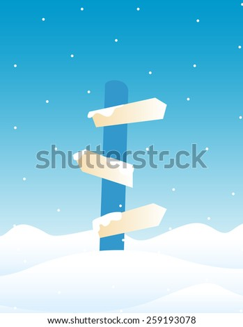 Illustration of a direction sign board on falling Snow background / Winter direction sign board - stock photo