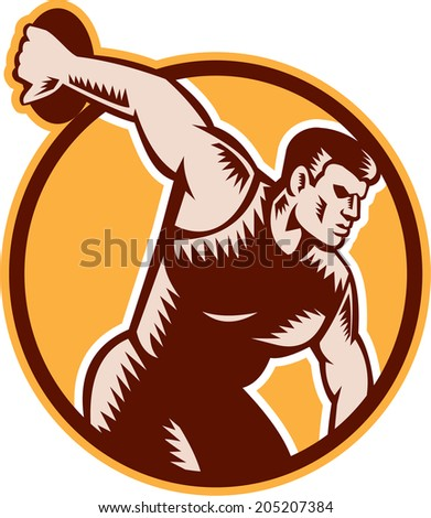 Illustration of a discus thrower set inside circle done on isolated background in woodcut retro style.