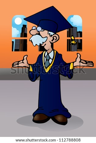 illustration of a  doctoral graduation for a happy old man on room background