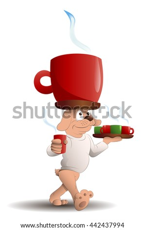 illustration of a dog serving a lot of coffee on isolated white background