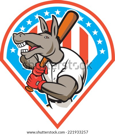 Illustration of a donkey baseball player holding bat on shoulder batting set inside diamond with american stars and stripes in the background done in cartoon style.