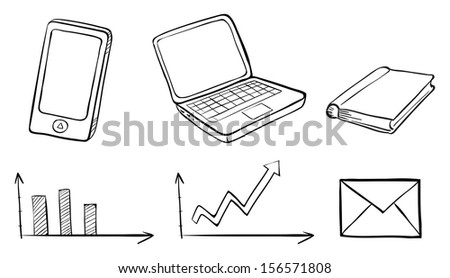 Illustration of a doodle set of the different gadgets on a white background - stock photo