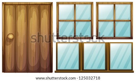Illustration of a door and windows on a white background - stock photo