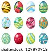 Illustration of a dozen of colorful easter eggs on a white background - stock photo